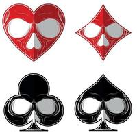 Vector design, skull with the four poker symbols, heart, diamond, ace, clover, all on white background.