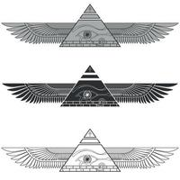 Winged pyramid silhouette with eye of horus vector