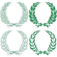 Illustration of laurel and olive wreaths tied with ribbon vector