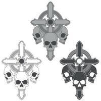 Design of three skulls with cross vector