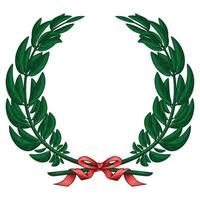 Ilustración de corona de olivo atada con cinta roja vector