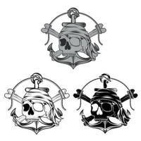 diseño vectorial de calaveras piratas en blanco y negro vector