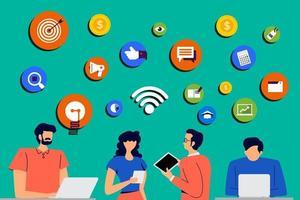 People enjoying digital technology vector
