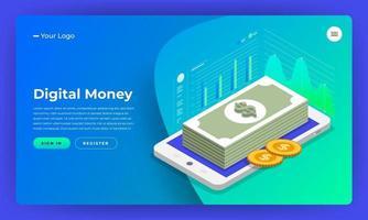 Digital money website landing page mockup vector