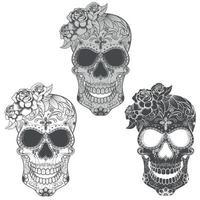 día mexicano de los muertos, ilustración de calavera en escala de grises vector
