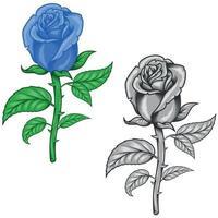 diseño vectorial de flores azules y en escala de grises. vector