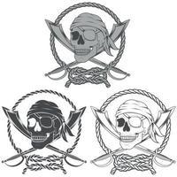diseño de calavera pirata con espadas en escala de grises vector