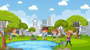 Park scene with many children fishing in the pond vector