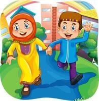 Muslim sister and brother cartoon character vector
