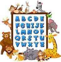 tablero del alfabeto az con animales salvajes