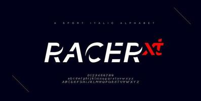 fuentes del alfabeto cursiva urbana moderna del deporte vector