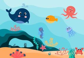 Underwater Scenery and Cute Animal Life in the Sea with Seahorses, Starfish, Octopus, Turtles, Sharks, Fish, Jellyfish, Crabs. Vector Illustration