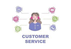 contáctenos servicio al cliente para servicio de asistente personal, asesor personal y red social. ilustración vectorial vector