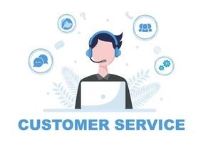 Contact Us Customer Service For Personal Assistant Service, Person Advisor and Social Media Network. Vector Illustration