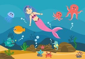 Underwater Mermaid Vector Illustration Cute Sea Animals Cartoon Characters Along with Fish, Turtle, Octopus, Seahorse, Crab