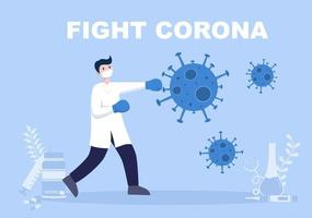 Vector Illustration Healthcare Medical People Protecting And Fighting Against The Corona Virus