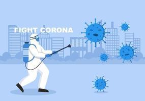 ilustración vectorial personas médicas de la salud protegiendo y luchando contra el virus corona vector