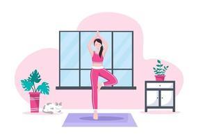 Las prácticas de yoga o meditación tienen como objetivo los beneficios para la salud del cuerpo para controlar los pensamientos, las emociones, el inicio y la búsqueda de ideas. ilustración vectorial de diseño plano vector