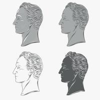 busto de perfil simon bolivar vector