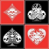 diseño de vector de patrón de póquer de cráneo