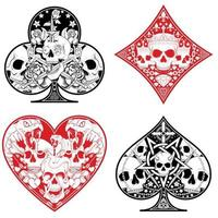 Heart, diamond, clover and ace poker symbols with different skull designs. vector
