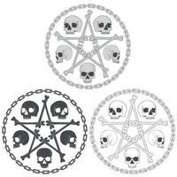 diseño de calavera de estrella de hueso en escala de grises vector