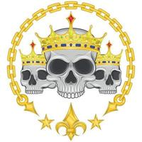 Illustration of crowned skulls, with chains and golden liz flower vector