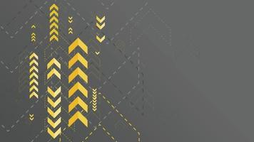 Abstract geometric background with yellow arrows on dark background vector