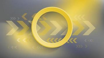 Abstract geometric background with yellow circle and yellow arrow on dark background vector