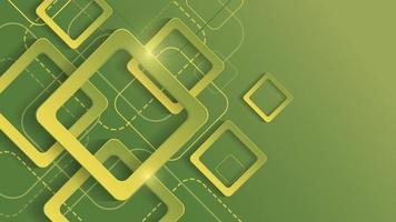 Fondo geométrico abstracto con cuadrado degradado verde sobre fondo verde vector