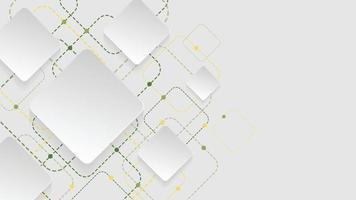 Fondo geométrico abstracto con cuadrados blancos, verdes y amarillos sobre fondo blanco. vector