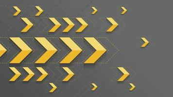 Abstract yellow arrows sign on dark background vector