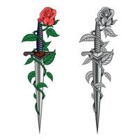 Rose with dagger vector