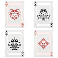 Vector design of poker cards with skulls, the symbols of heart, diamond, clover and ace with different styles.