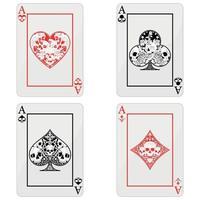 Diseño vectorial de cartas de póquer con calaveras, los símbolos de corazón, diamante, trébol y as con diferentes estilos. vector