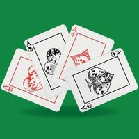 Poker hand, heart, diamond, clover and ace symbols with different skull designs vector