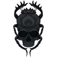 Vector design of scary beetle with skull, illustration of death shape beetle