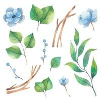 Spring watercolor set of floral elements from green leaves and blue anemone flowers vector