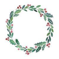 Christmas wreath watercolor paint frame vector