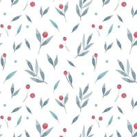Watercolor floral pattern with grey leaves and red berries on white background. Hand painted illustration. vector