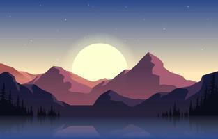 Peaceful Mountain Panorama Landscape in Monochromatic Flat Illustration vector