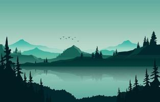 Lake Mountain Panorama Landscape in Green Monochrome Flat Illustration vector