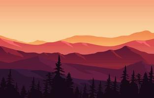 hermoso bosque de pinos panorama de montaña paisaje ilustración plana vector
