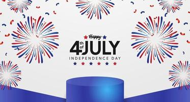 4th July American Independence day with podium display poster banner template