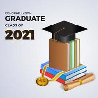 2021 class graduation with 3d graduate cap illustration vector