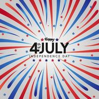 4th July of USA american independence day with burst red and blue flag color vector
