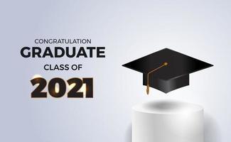 Tarjeta de invitación de clase de fiesta de graduación de lujo de 2021 con gorra de graduación en el escenario del cilindro del podio vector