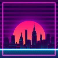Retro vintage 80s gradient neon color background vector