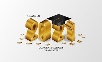 Graduation 2021 isometric with graduate cap vector