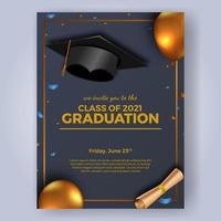 plantilla de banner de cartel de graduación vector